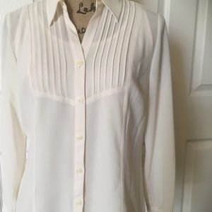 JM Collection Business Casual Ivory Shirt